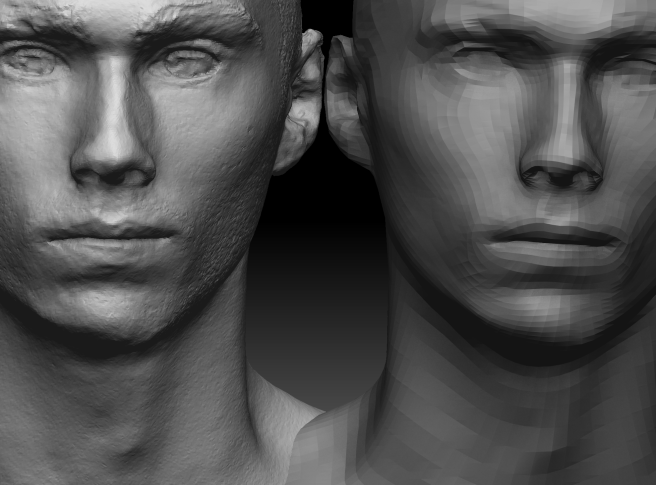 High poly to low poly mesh